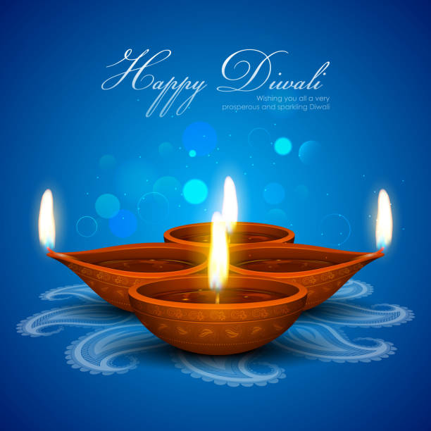 blue happy diwali card containing 4 candles - diwali stock illustrations, clip art, cartoons, & icons