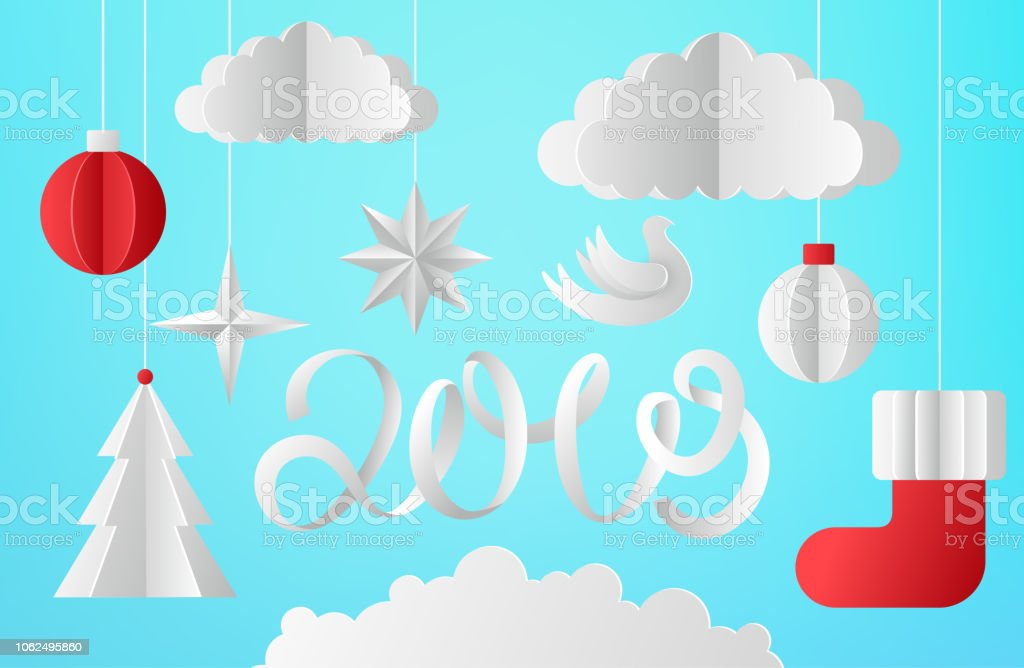 blue happy new year 2019 card with paper cut christmas decorations royalty free