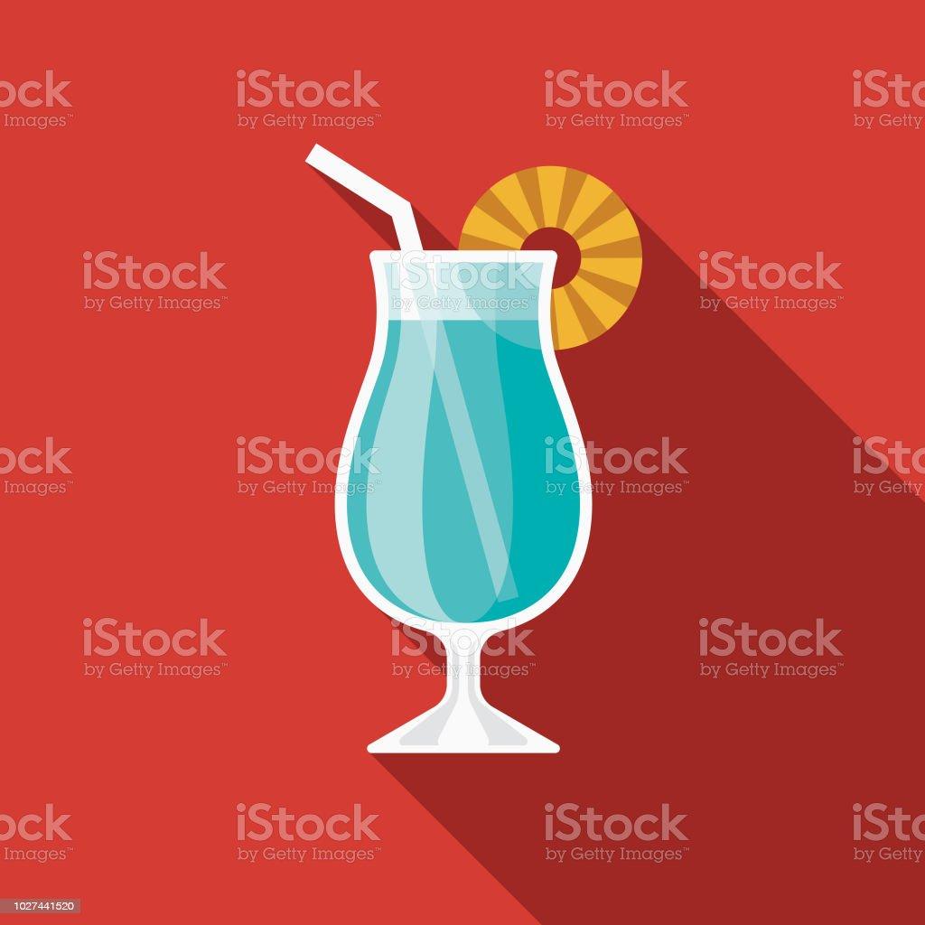 Blue Hawaiian Cocktail Flat Design 1970s Icon Stock