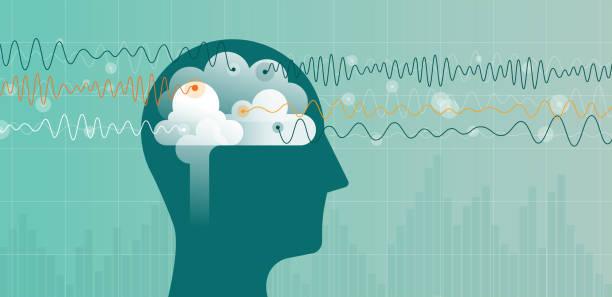 illustrazioni stock, clip art, cartoni animati e icone di tendenza di blue head and brain waves - elettrodo