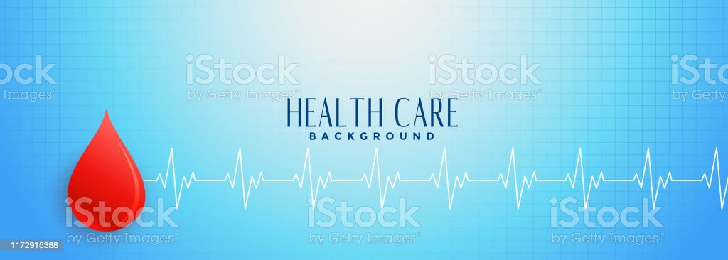 Blue Healthcare Banner With Red Blood Drop Concept Stock Illustration Download Image Now Istock