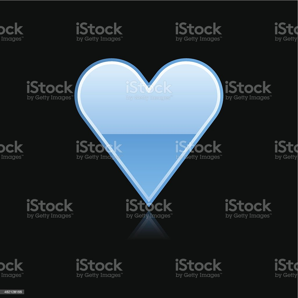 Blue heart sign metal icon chrome pictogram web internet button royalty-free stock vector art