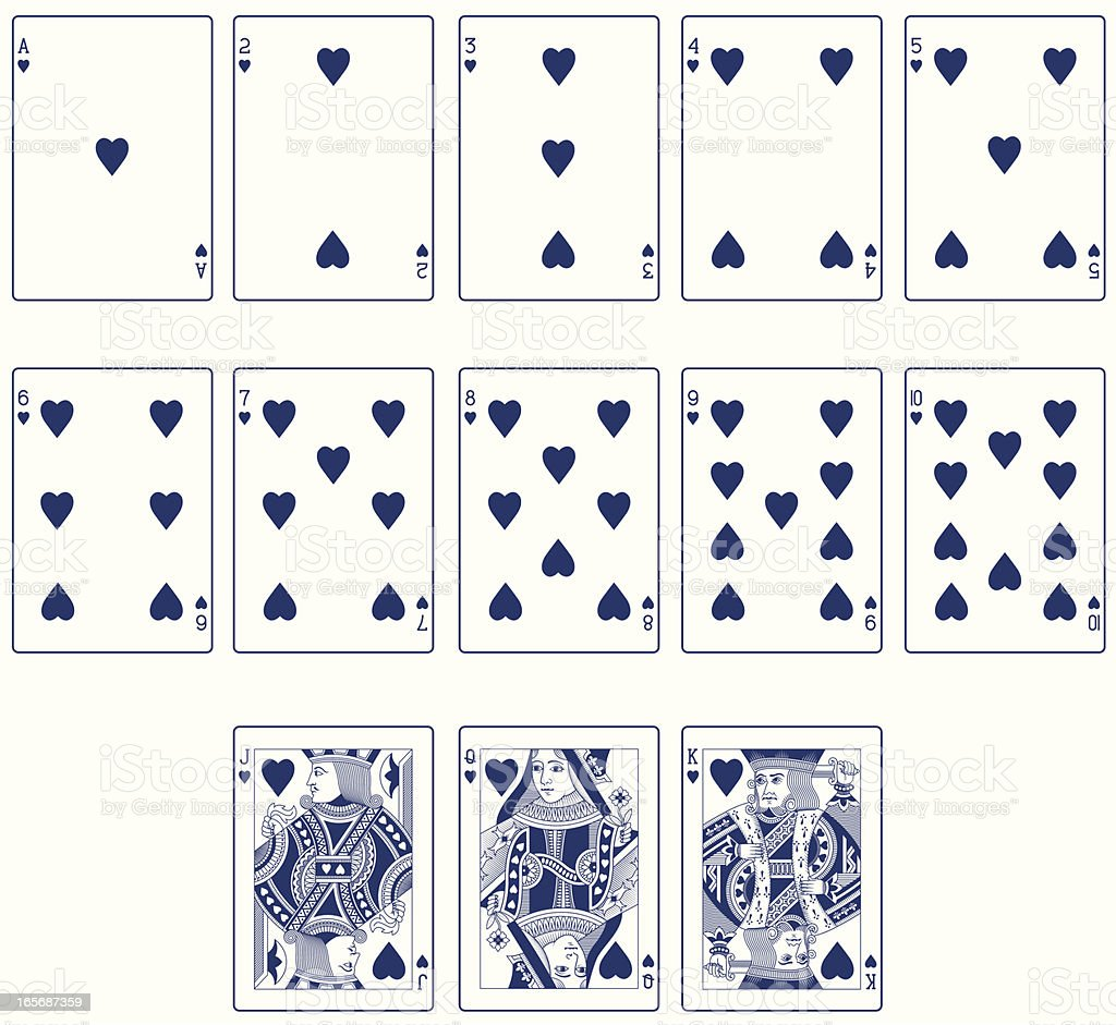 Blue Heart Suit Playing Cards royalty-free stock vector art