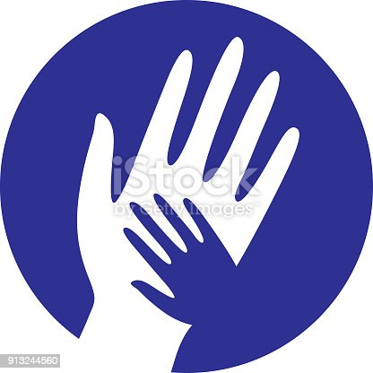 istock Blue Helping Hands Icon 913244560