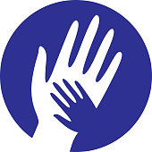 Blue Helping Hands Icon