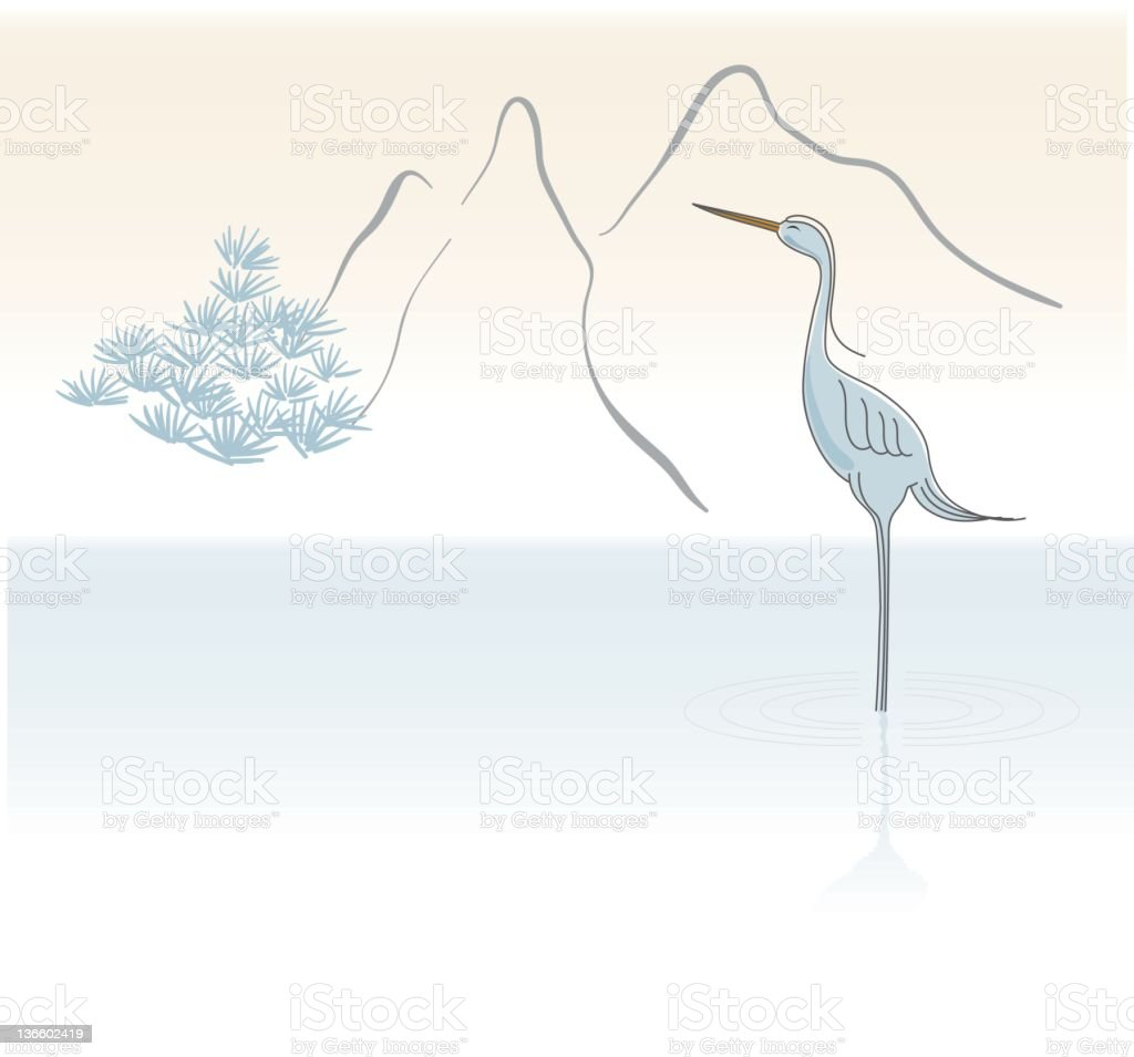 Blue Heron By the water vector art illustration
