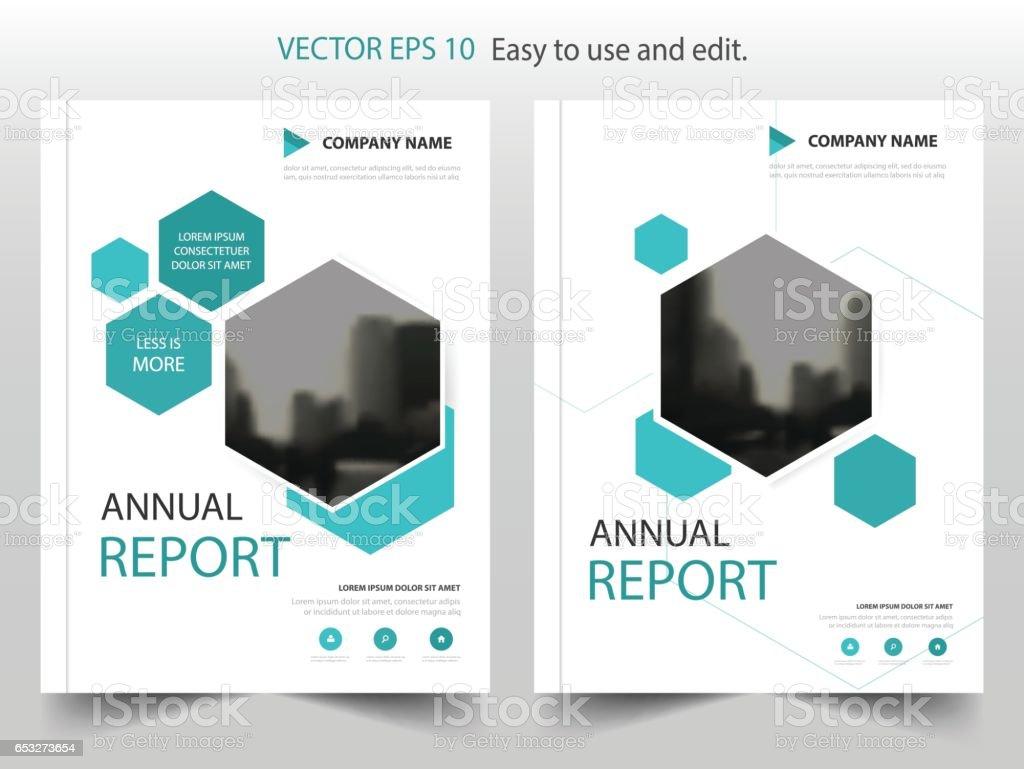blue hexagon brochure annual report leaflet flyer template design