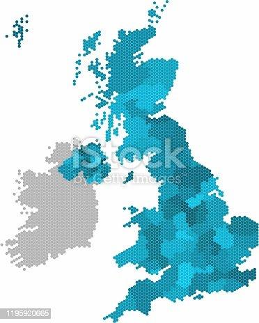 istock Blue hexagon United Kingdom map on white background. Vector illustration. 1195920665