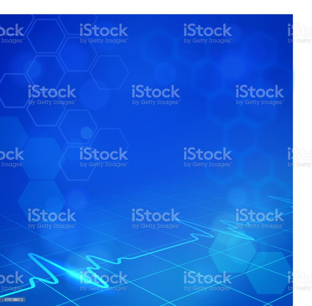 Blue hexagonal medical background with digital monitor waves vector art illustration