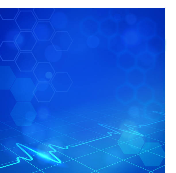 blue hexagonal medical background with digital monitor waves - medical equipment stock illustrations, clip art, cartoons, & icons