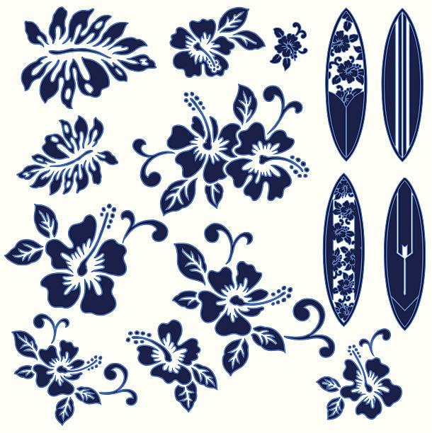 hibiskus und einem surfbrett - freiflächen stock-grafiken, -clipart, -cartoons und -symbole