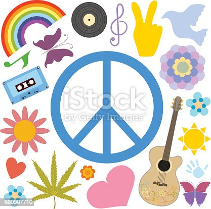 Blue Hippie Peace Symbol And Other Symbols Isolated On A White
