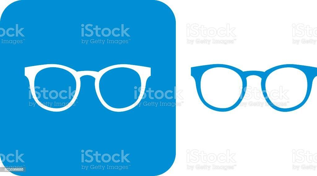 Blue Hipster Eyeglasses Icons vector art illustration