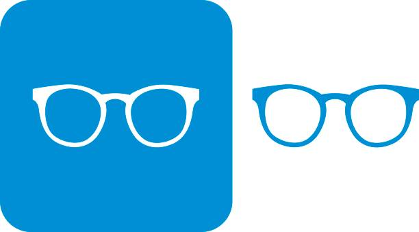blue hipster eyeglasses icons - okulary stock illustrations