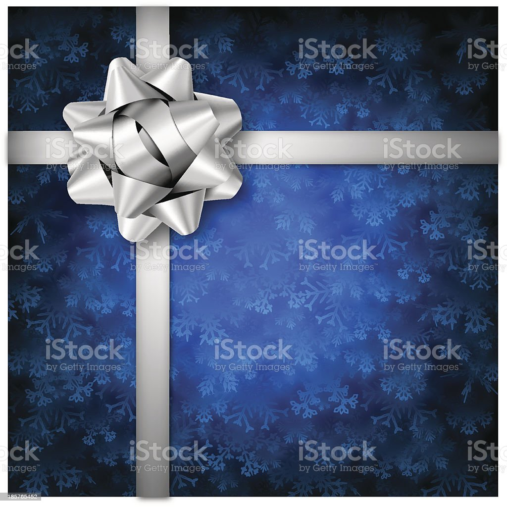 Blue Holiday Background with Silver Bow royalty-free stock vector art