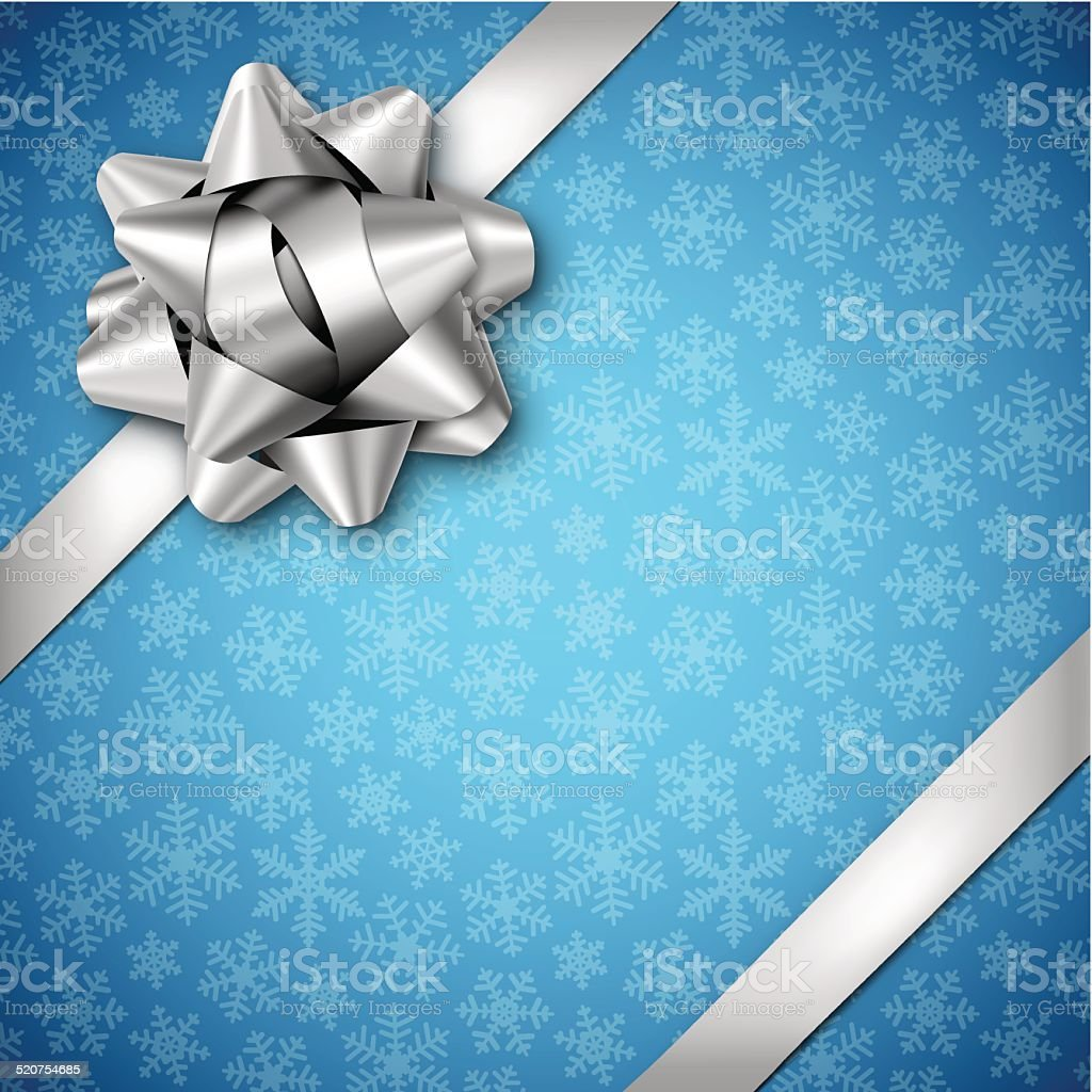 Blue Holiday Background with Silver Bow vector art illustration