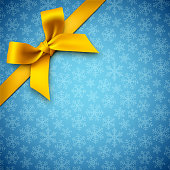 Blue holiday background with snowflakes and yellow gift bow. Vector illustration.