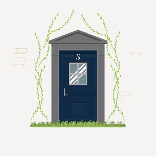ilustrações de stock, clip art, desenhos animados e ícones de blue home door with grass and ivy - ivy building