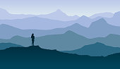 Vector Illustration os a beautiful horizontal Blue Horizon with Girl Sighting the Nature and Freedom