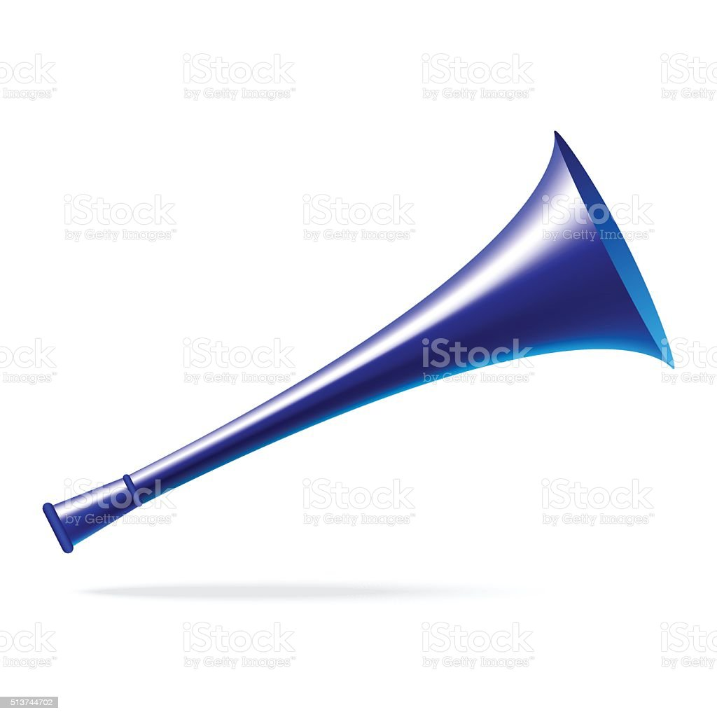 Blue horn vector art illustration