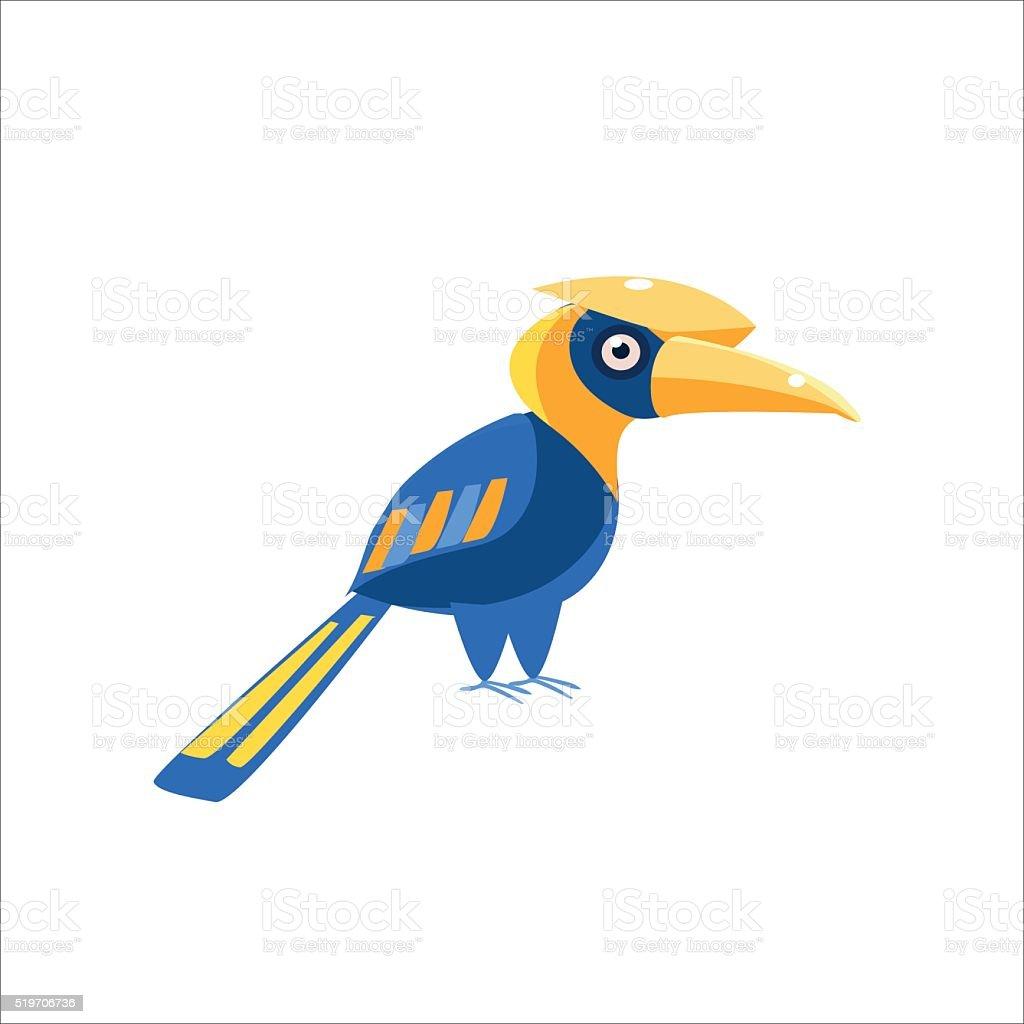 Blue Hornbill Bird vector art illustration