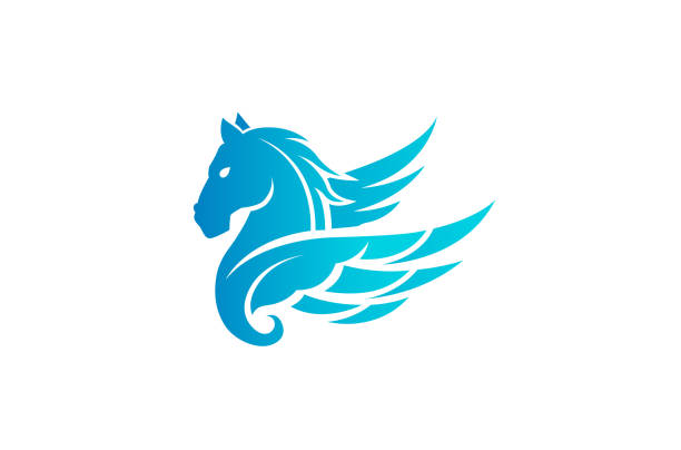 blaues pferd pegasus logo - mustangs stock-grafiken, -clipart, -cartoons und -symbole