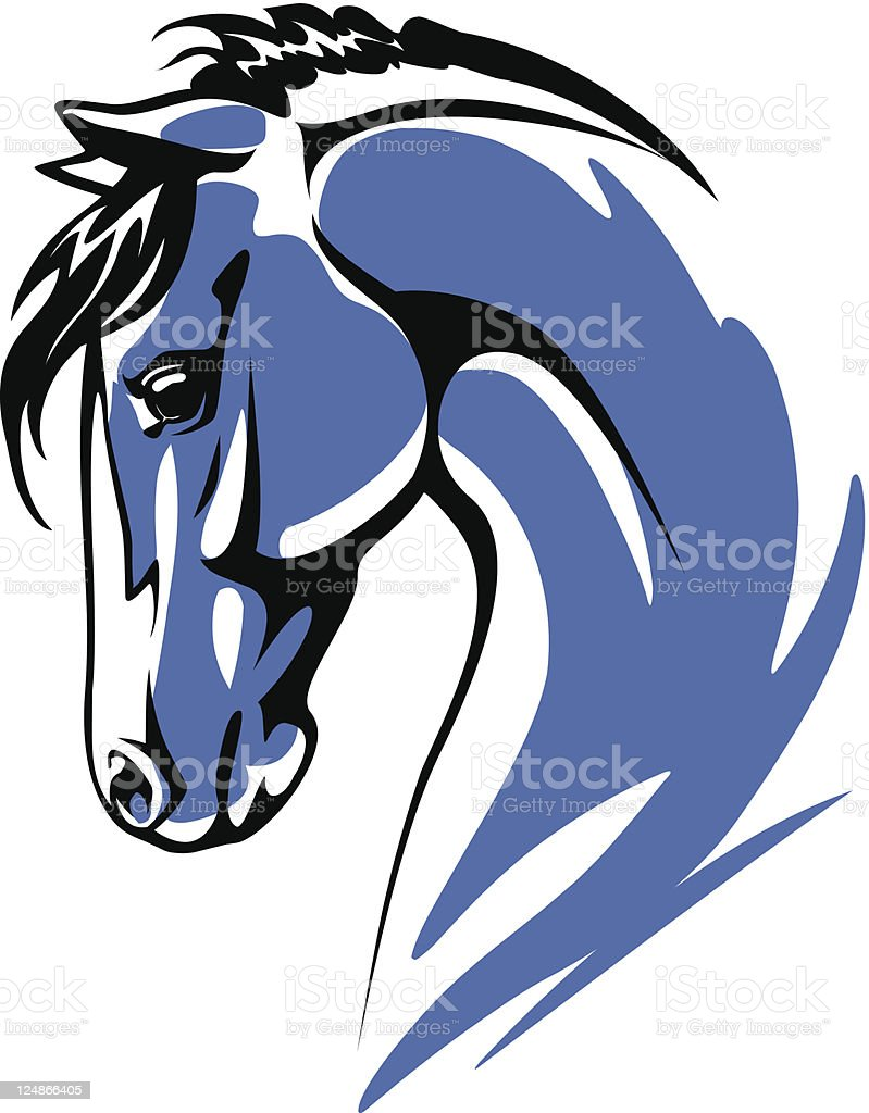 Blue horse vector art illustration