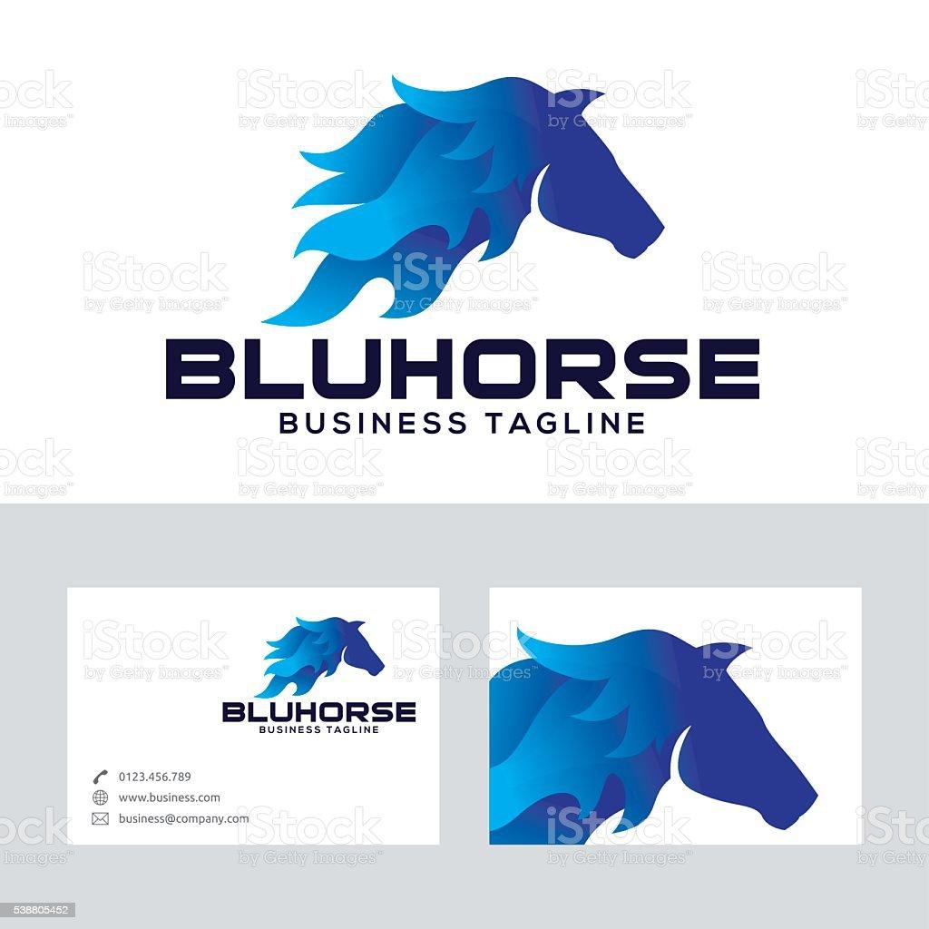 Azul Vector De Caballo De Logotipo Con La Plantilla De Tarjeta De ...