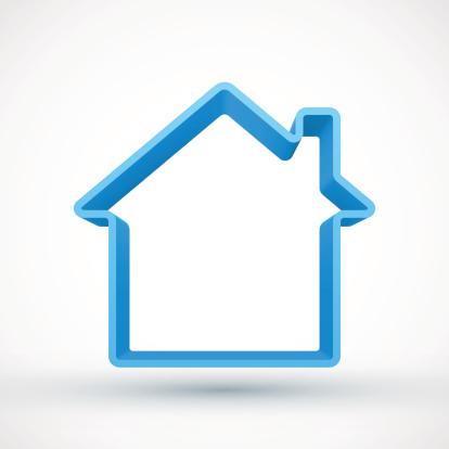 Blue house outline