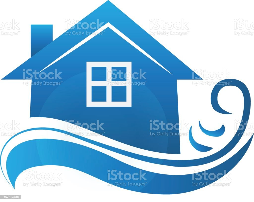 Blue house with waves icon symbol vector vector art illustration