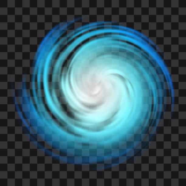 ilustraciones, imágenes clip art, dibujos animados e iconos de stock de símbolo de huracán azul sobre fondo transparente oscuro - hurricane