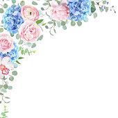 Blue hydrangea, orchid, pink rose, ranunculus, eucalyptus and gr