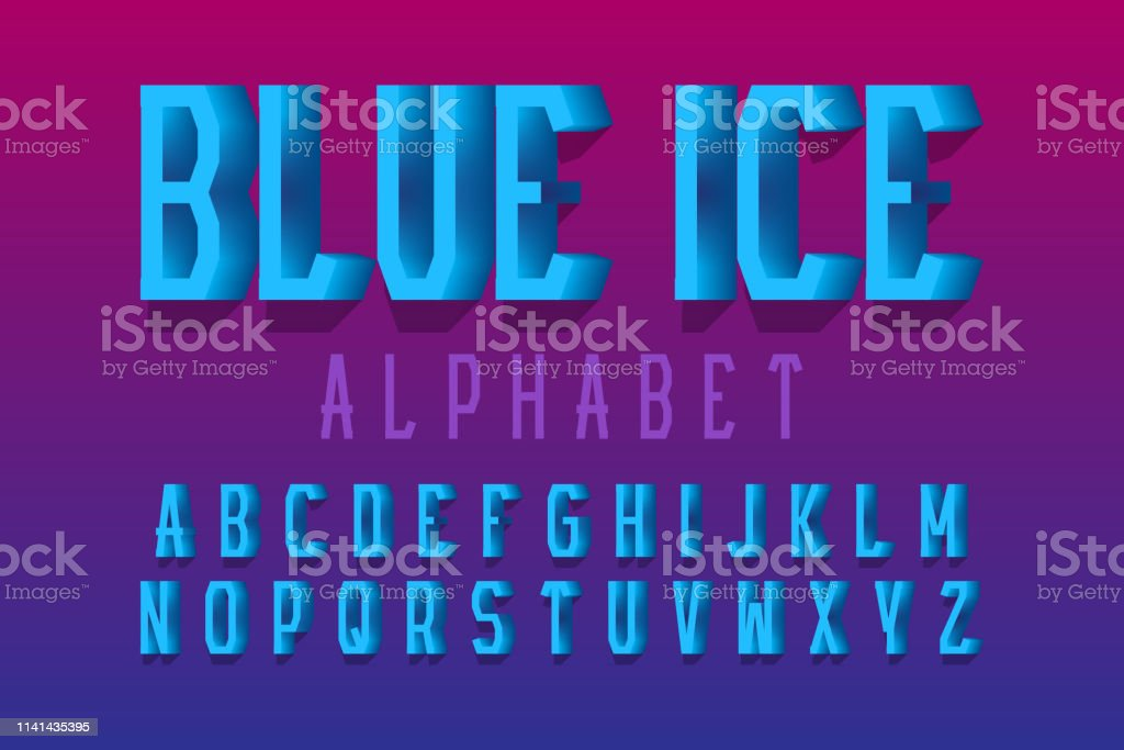 Blue ice alphabet. Urban 3d letters font. Isolated English alphabet.