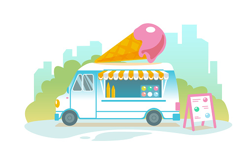 Blue ice cream truck in retro style on cityscape. Popsicle wheeled cafe banner design. Ice car cartoon illustration. Isolated sweet cart in Flat vector landscape. Icecream food delivery banner