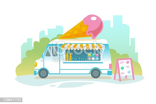 Blue ice cream truck in retro style on cityscape. Popsicle wheeled cafe banner design. Ice car cartoon illustration. Isolated sweet cart in Flat vector landscape. Icecream food delivery service banner