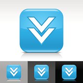Blue icon arrow download sign white pictogram glossy rounded square web internet button with shadow and reflection on white, gray, black background.