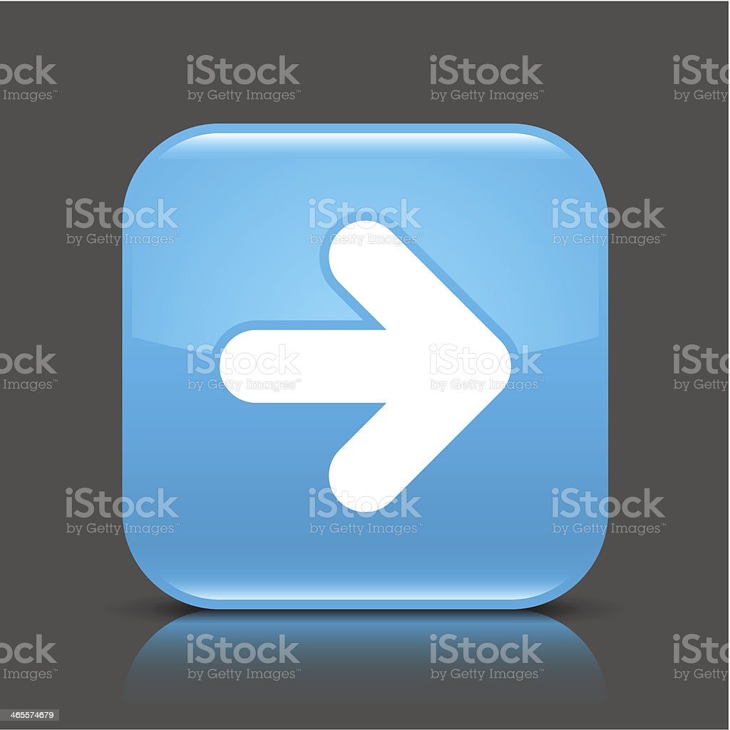 Blue icon arrow sign glossy square web internet button royalty-free stock vector art