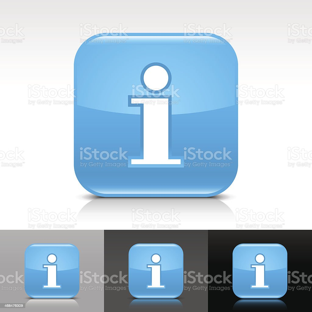 Blue icon information sign glossy rounded square web button royalty-free stock vector art