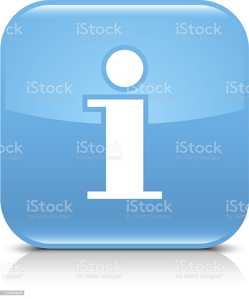 Blue icon information sign glossy rounded square web internet button vector art illustration