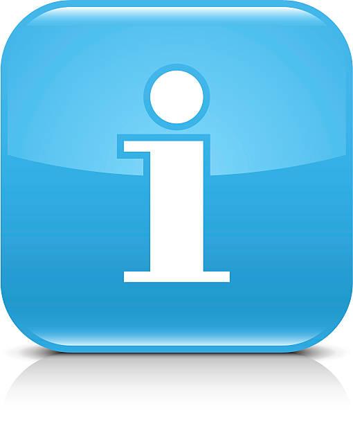 Blaue icon Hinweisschild glänzenden abgerundete web und internet-button – Vektorgrafik