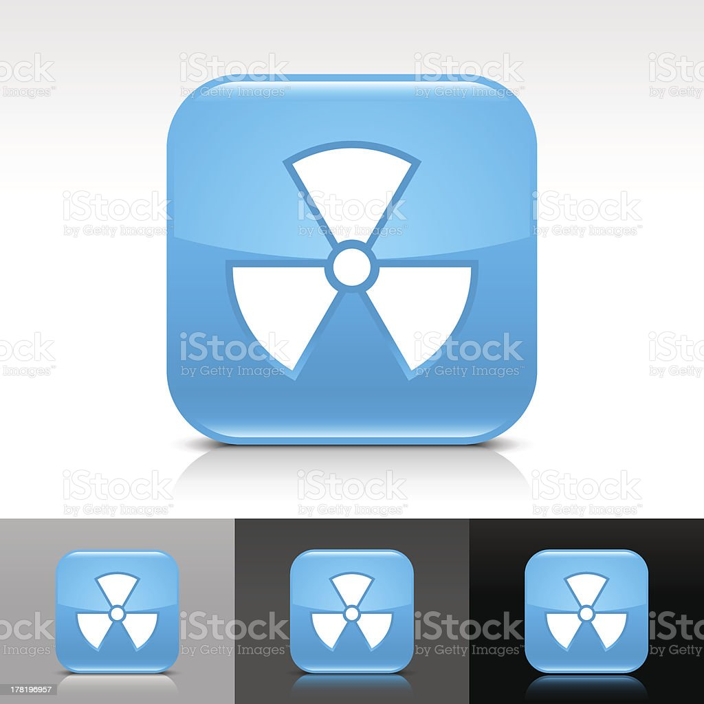 Blue icon radiation sign glossy rounded square web internet button royalty-free stock vector art