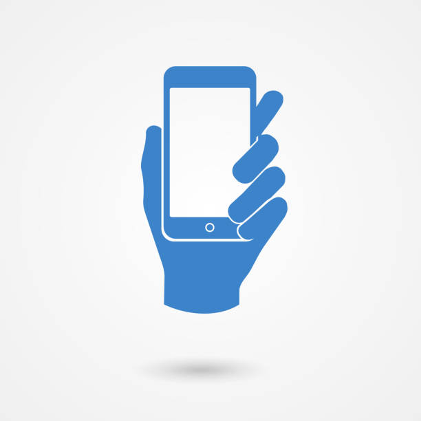 blue icon with hand holding a smart mobile phone - hand holding phone stock illustrations