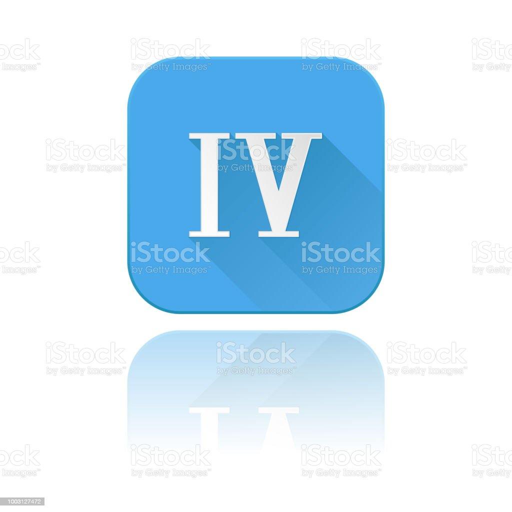 Ilustración De Icono Azul Con Número De Romano Iv Con La Reflexión Y