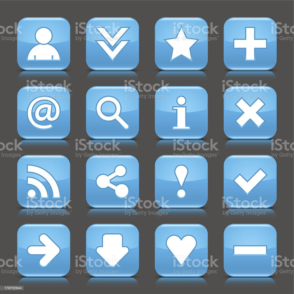 Blue icon with white basic sign glossy rounded square button royalty-free stock vector art