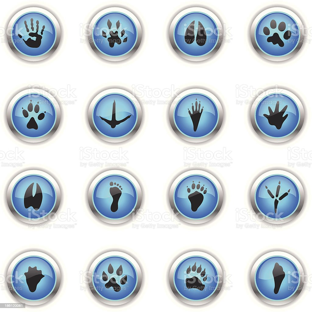 Blue Icons - Animal Tracks royalty-free blue icons animal tracks stock vector art & more images of animal themes