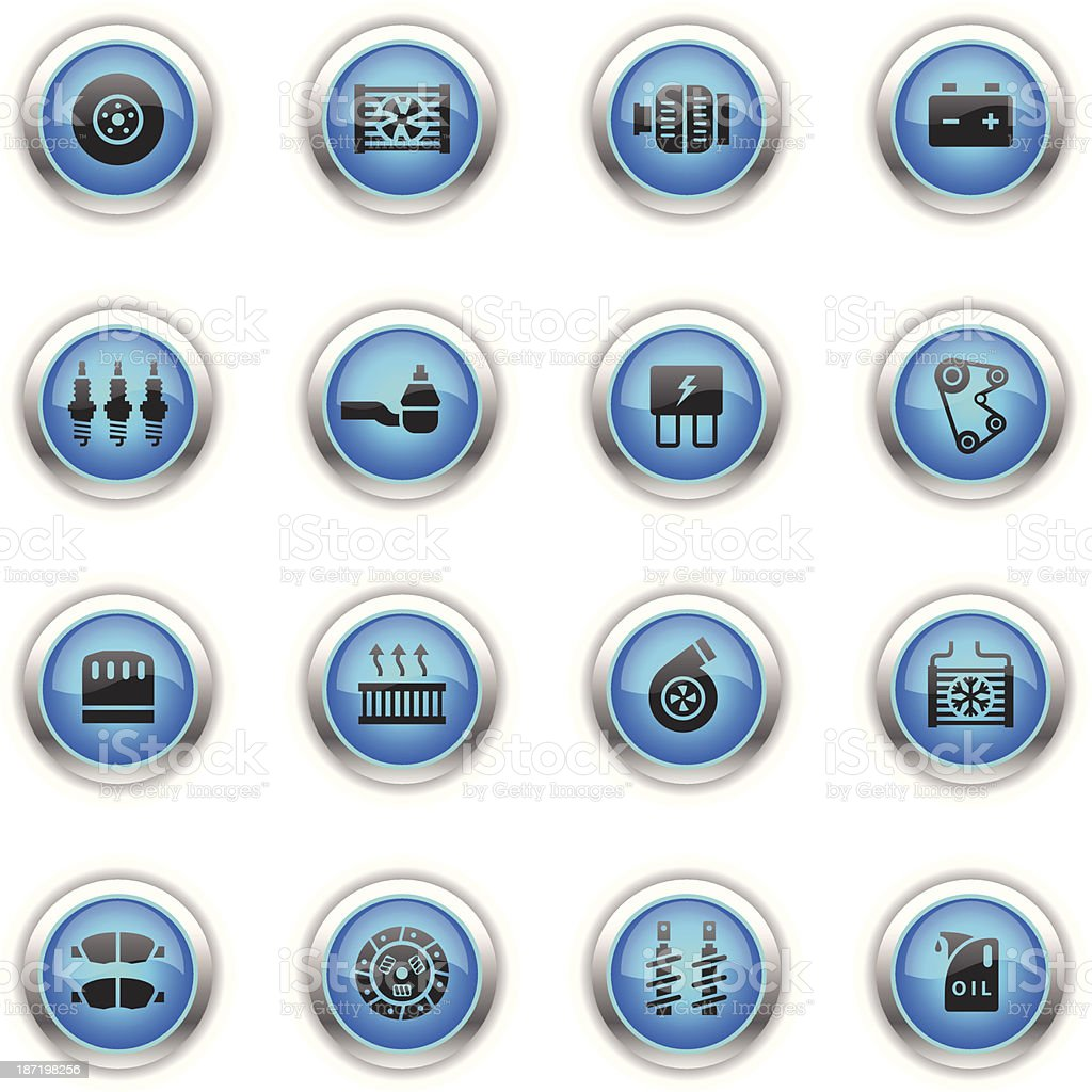 Blue Icons - Car Maintenance vector art illustration