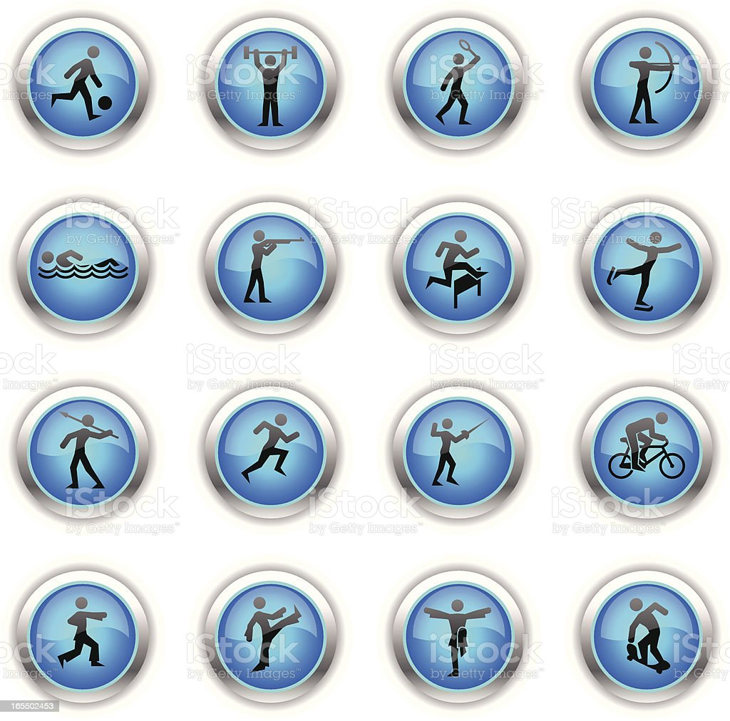 Blue Icons - Different Sports royalty-free blue icons different sports stock vector art & more images of activity