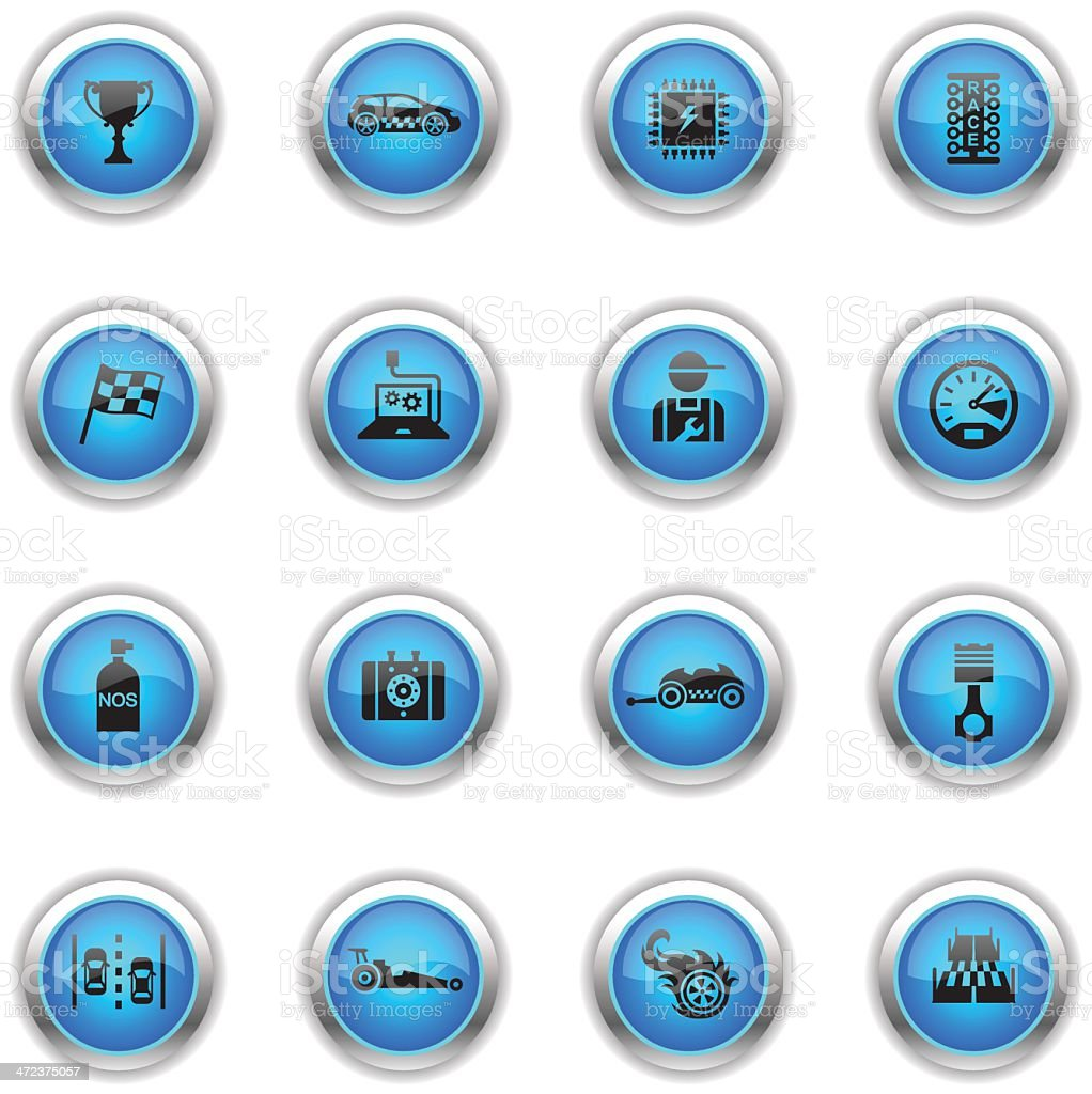 Blue Icons - Drag Racing royalty-free stock vector art