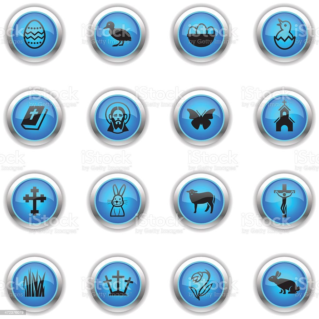Blue Icons - Easter royalty-free stock vector art
