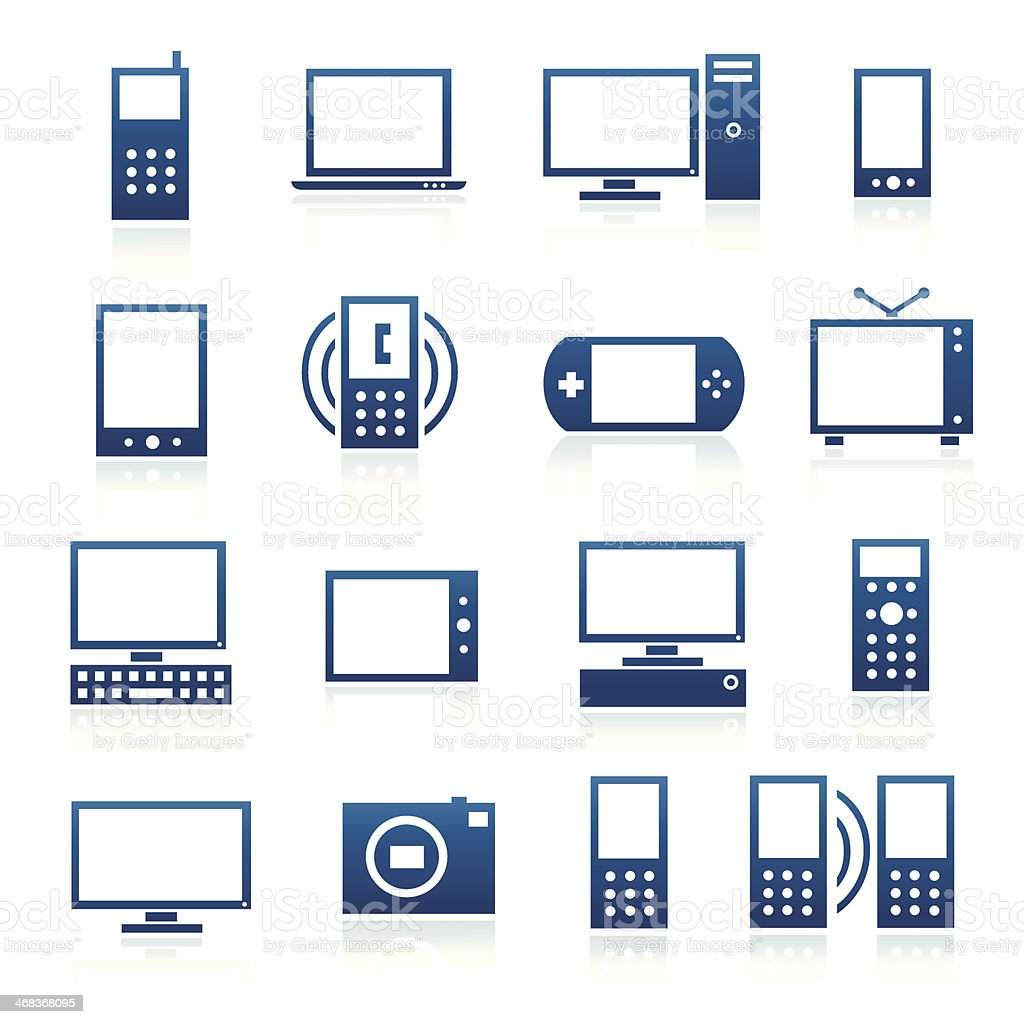 Blue Icons Electronics royalty-free blue icons electronics stock vector art & more images of arts culture and entertainment